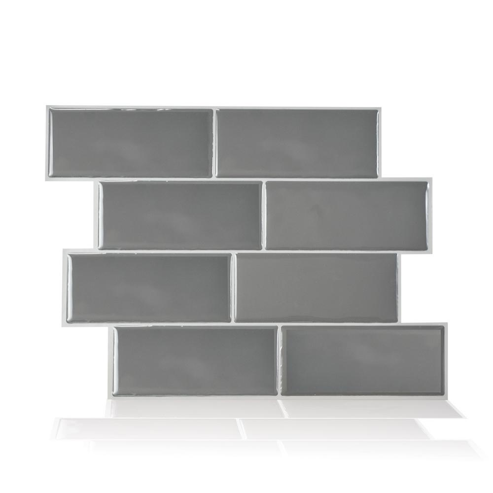 Smart Tiles Metro Grigio 11.56 in. W x 8.38 in. H Peel and Stick Self-Adhesive Decorative Mosaic Wall Tile Backsplash (12-Pack)