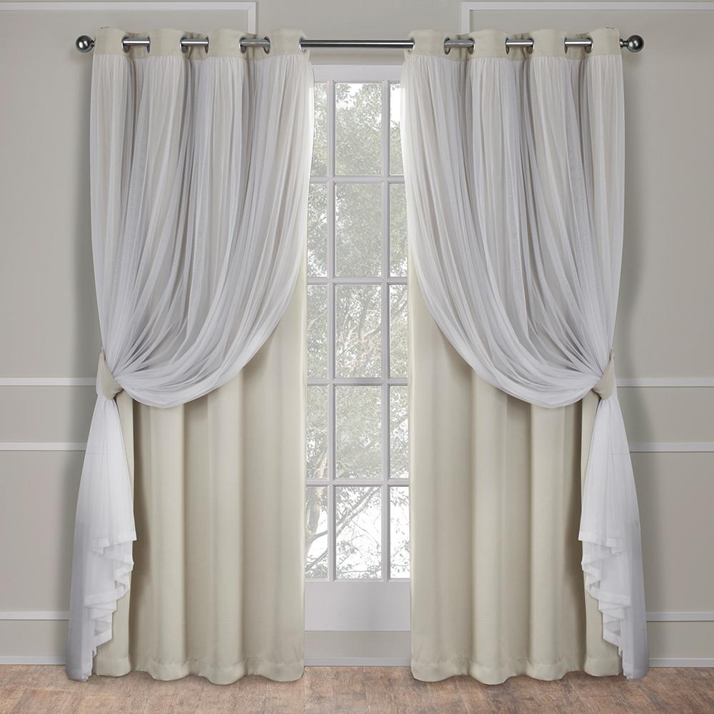 Catarina Sand Layered Solid Blackout And Sheer Grommet Top Window Curtain