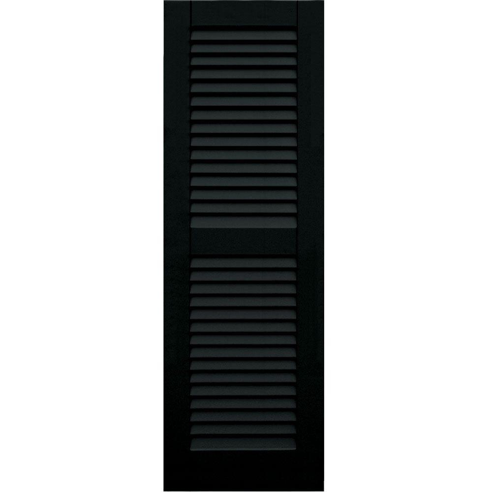 Winworks Wood Composite 15 in. x 46 in. Louvered Shutters Pair #653 Charleston Green
