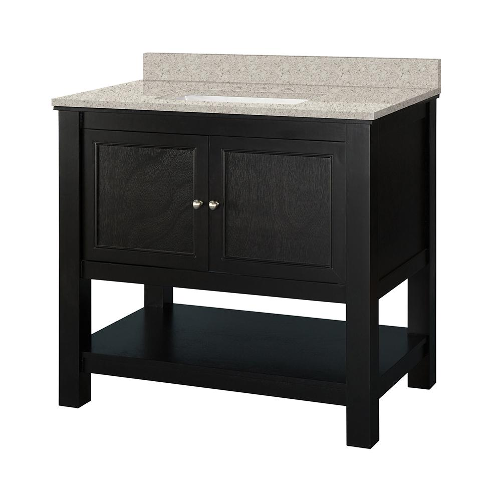 Home Decorators Collection Gazette 37 in. W x 22 in. D Vanity in Espresso with Engineered Marble Vanity Top in Sedona with White Sink