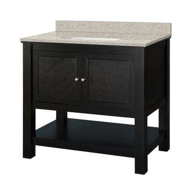Gazette 37 in. W x 22 in. D Vanity in Espresso with Engineered Marble Vanity Top in Sedona with White Sink
