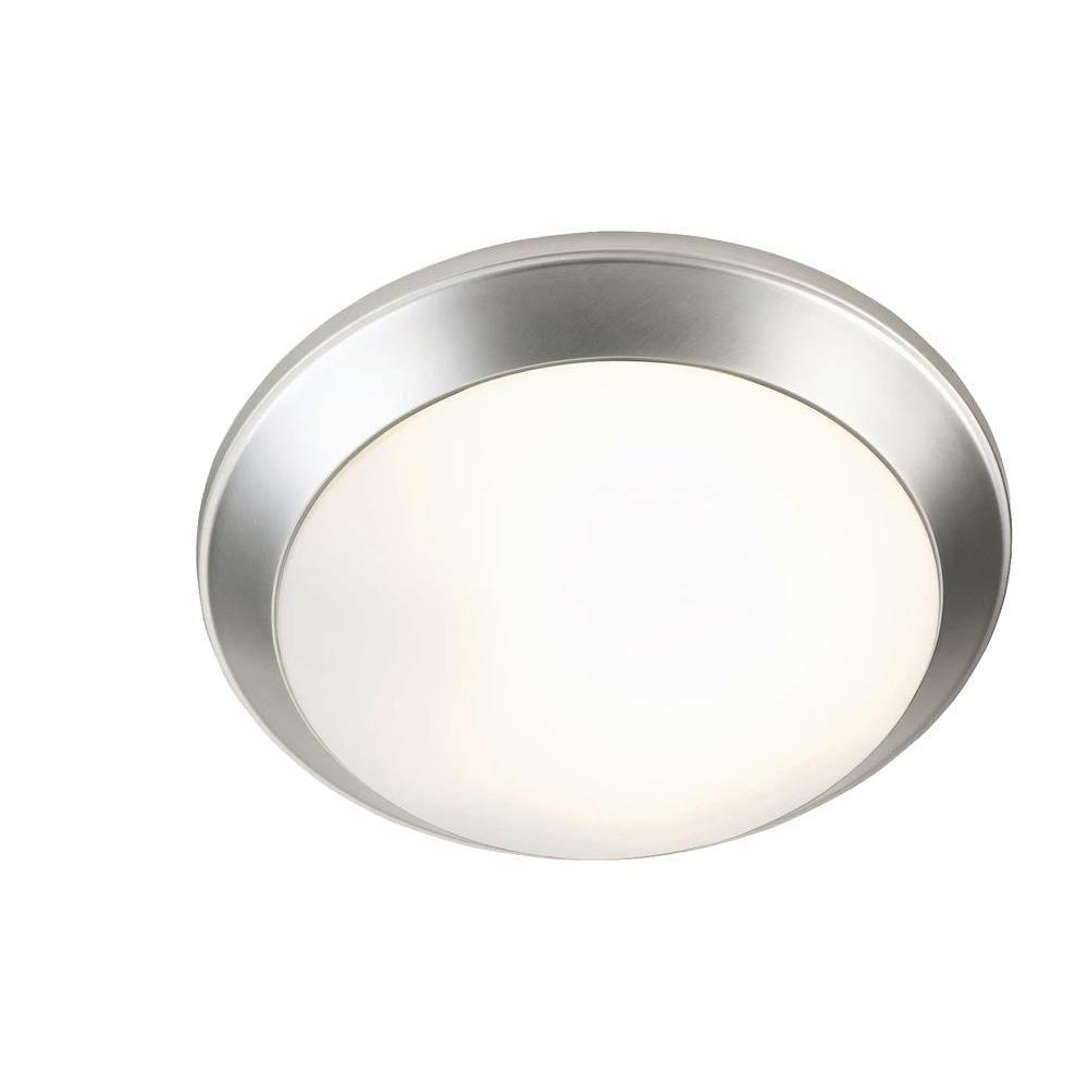 Illumine 2-Light Satin Steel Flush Mount with Frost Glass