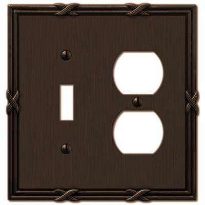 Ribbon and Reed 1 Toggle 1 and Duplex Wall Plate - Aged Bronze