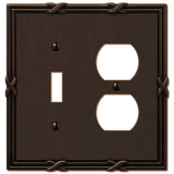 Ribbon and Reed 2 Gang 1-Toggle and 1-Duplex Metal Wall Plate - Aged Bronze