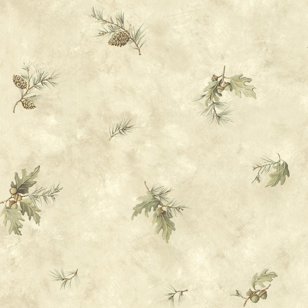 Chesapeake Brimstone Bone Forest Leaf Toss Wallpaper