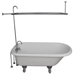 Barclay Products 5.6 ft. Acrylic Ball and Claw Feet Roll Top Tub in White with Polished Chrome Accessories by Barclay Products