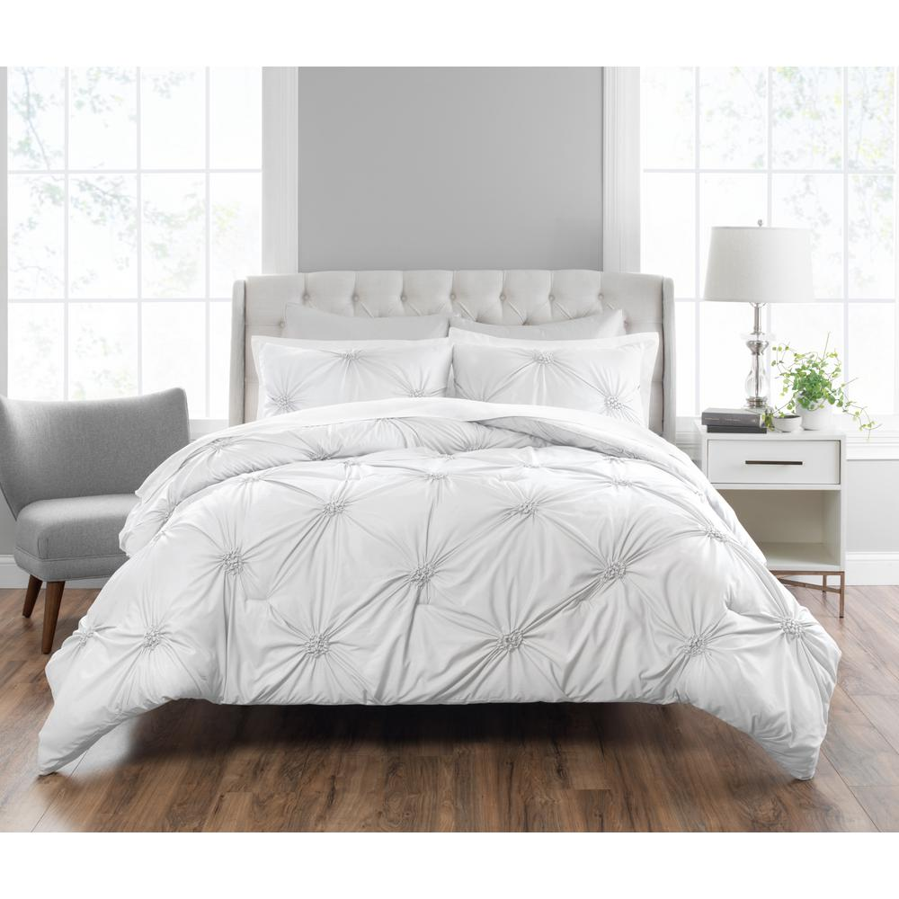 Clairette 3-Piece Technique White Queen Comforter Set