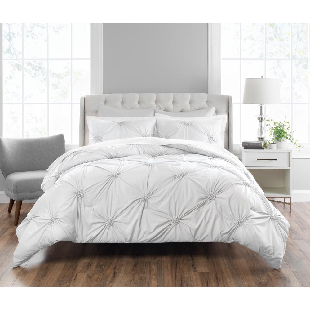Nicole Miller Clairette 3 Piece Technique White Queen Comforter Set