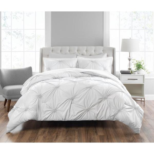 Nicole Miller Clairette 3-Piece Technique White Queen Comforter Set