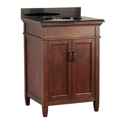 Ashburn 25 in. W x 22 in. D Vanity in Mahogany with Colorpoint Vanity Top in Black