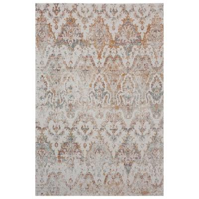Antiquity 2 ft. x 4 ft. Rust/Beige Distressed Rustic Damask Indoor/Outdoor Area Rug