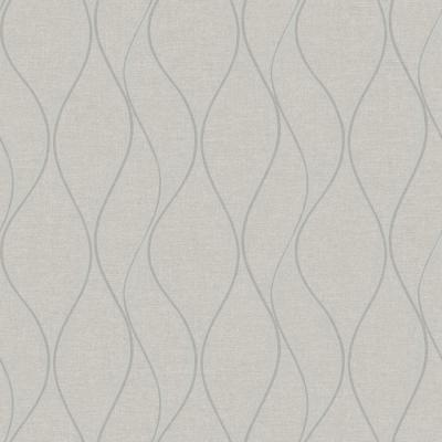 28.18 sq. ft. Beige Wave Ogee Peel and Stick Wallpaper