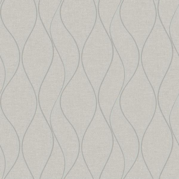 RoomMates 28.18 sq. ft. Beige Wave Ogee Peel and Stick Wallpaper