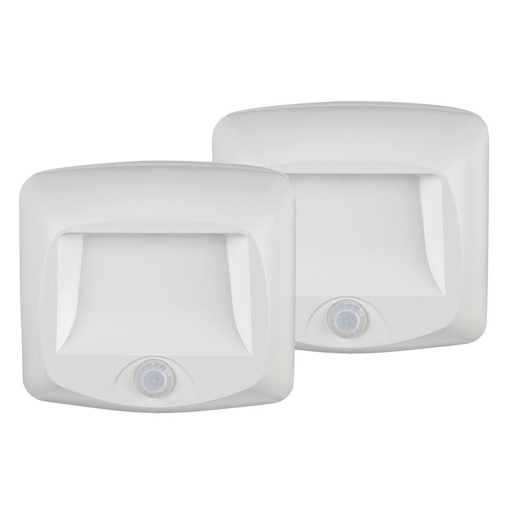 Mr Beams Wireless White Outdoor Motion Sensing Step Deck Light (2-Pack)