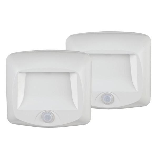 Outdoor 35 Lumen Battery Powered Motion Activated Integrated LED Step/Deck/Stair Light, White (2-Pack)