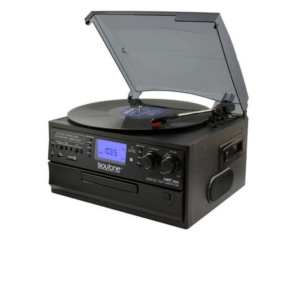 9-in-1 Turntable Stereo System in Black Brilliant sounding 3-Speed Bluetooth Turntable System for the home or office. Listen to any format including Vinyl, CD, Cassette Tape, USB/SD, AUX, RCA and 3.5 mm connectivity. Encode Auxiliary-In, Vinyl, Radio and Cassette Tape to MP3 or WMA playback on USB or SD.