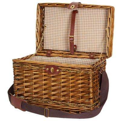 11.8 in x 15.75 in Willow and Seagrass Picnic Basket with Tan Check Liner