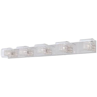 Jewel Box 5-Light Chrome Bath Light with Clear Glass and Interior Aluminum Cage Shades
