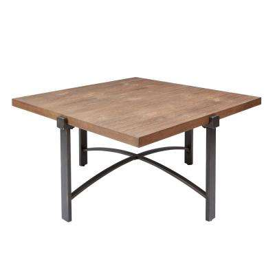 Lewis Gray and Brown Square Wood Top Coffee Table