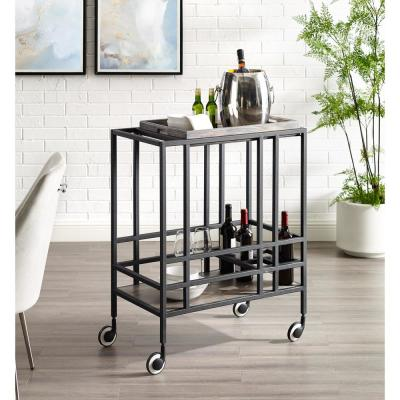 Mako Black/Grey Bar Cart with Removable Serving Tray