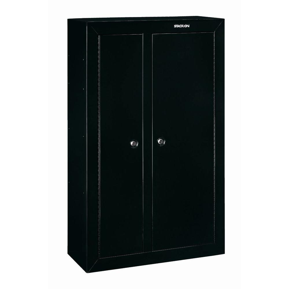 Stack on 10 gun black double door security cabinet gcdb for 10 gun double door steel security cabinet