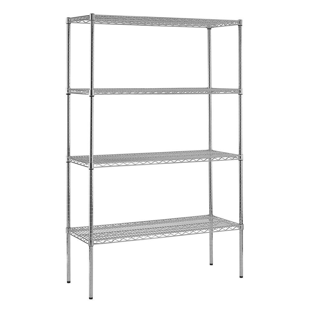 Sandusky Chrome 4 Tier Wire Shelving Unit 48 In W X 74 In H X 18 In D Ws481874 C The Home Depot