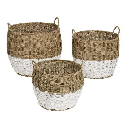 15.5 Gal. Seagrass Storage Baskets in Natural White (3-Pack)