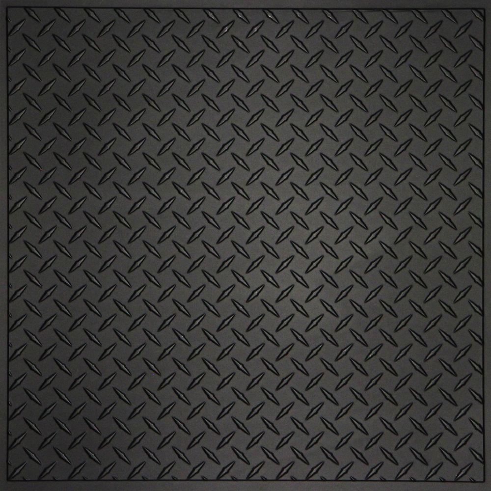 Ceilume Diamond Plate Black 2 Ft X 2 Ft Lay In Or Glue