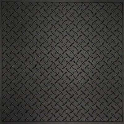 Diamond Plate Black 2 ft. x 2 ft. Lay-in or Glue-up Ceiling Panel (Case of 6)