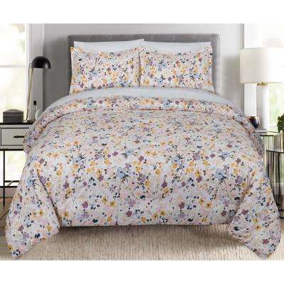Floral Splatter Full and Queen Comforter Set