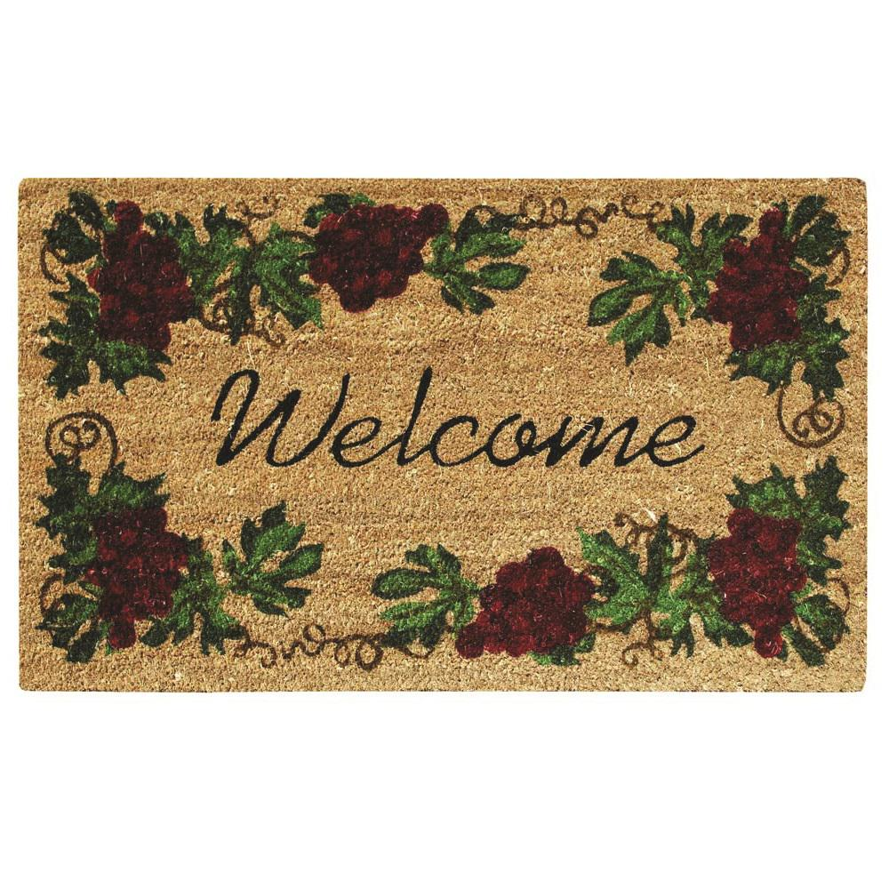 Grape Welcome 18 in. x 30 in. SuperScraper Vinyl/Coir Door Mat