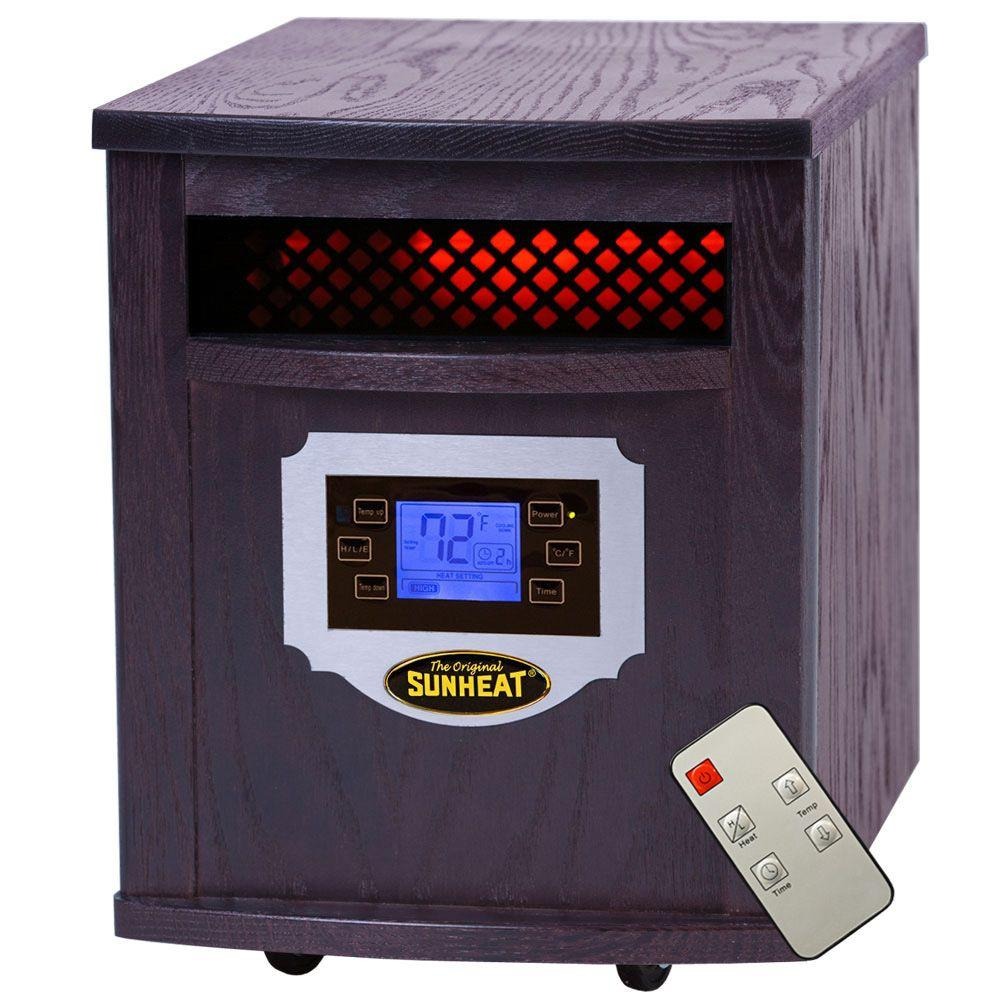 SUNHEAT 1500-Watt Infrared Electric Portable Heater with Remote Control, LCD Display and Cabinetry - Black Cherry