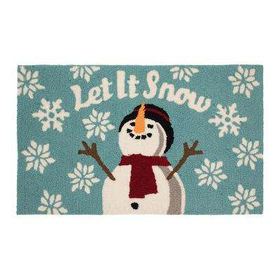Let it Snow 18 in. x 30 in. Handhooked Holiday Rug