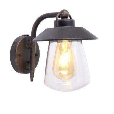 1-Light Rust Outdoor Small Wall Mount Lantern with Photocell