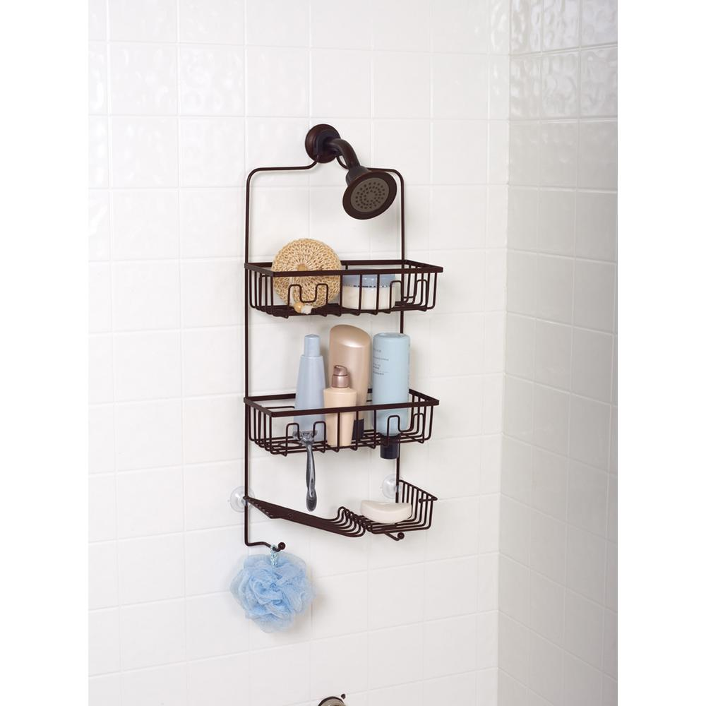 Zenna Home Family Size Shower Caddy in Bronze-7781HB - The Home Depot