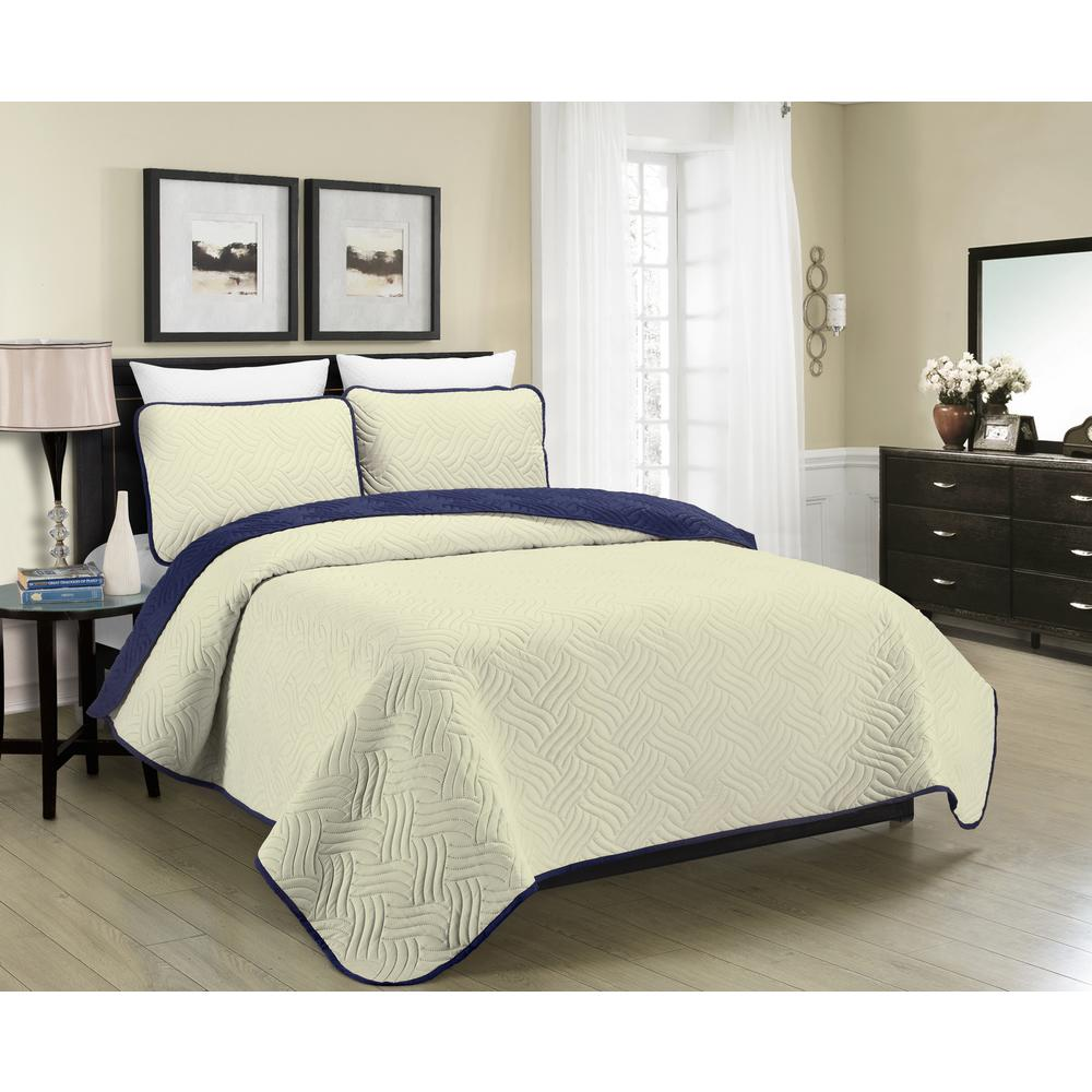 Blissful Living Reversible Austin 3 Piece Cream And Navy King Quilt Set
