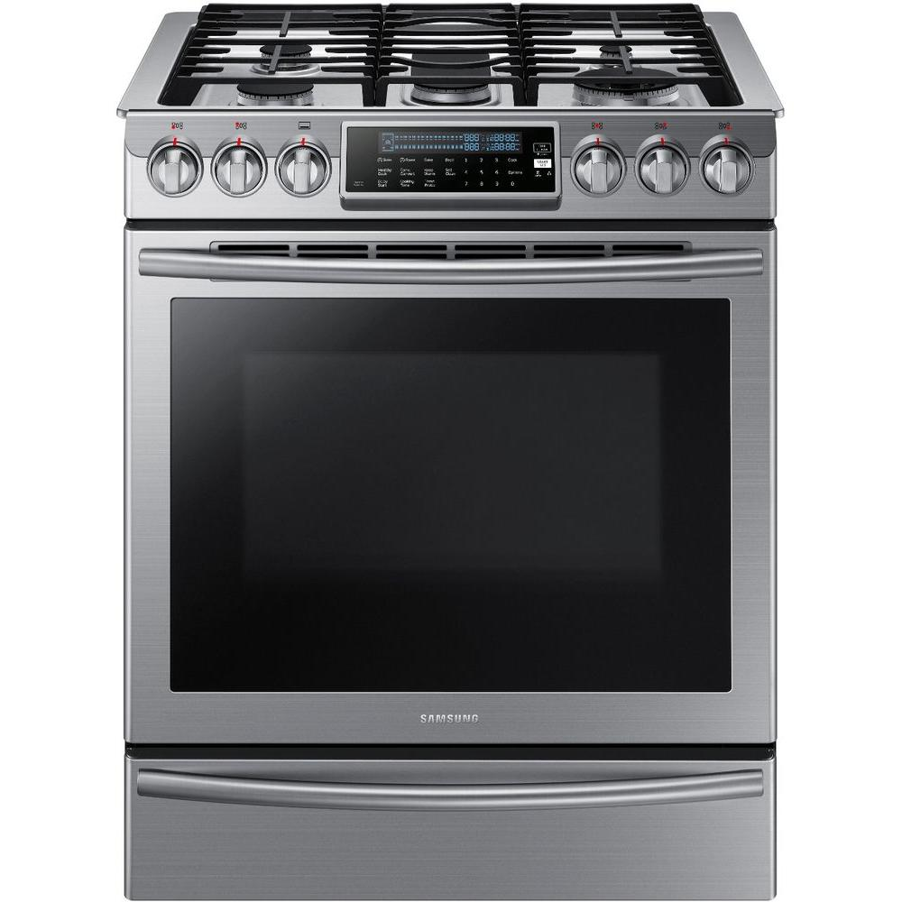 Samsung 30 in. 5.8 cu. ft. Slide-In Gas Range with Self-Cleaning Convection Oven in Stainless Steel