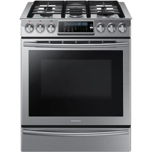 Click here to buy Samsung 30 inch 5.8 cu. ft. Slide-In Gas Range with Self-Cleaning Convection Oven in Stainless Steel by Samsung.