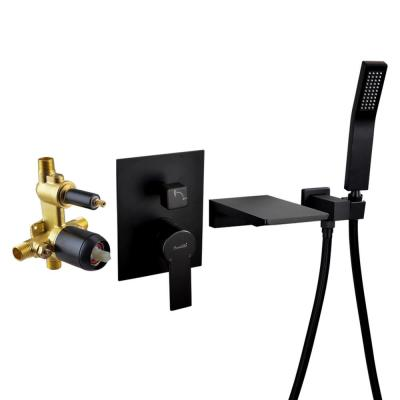 Single-Handle Wall Mount Roman Tub Faucet with Hand Shower in Matte Black