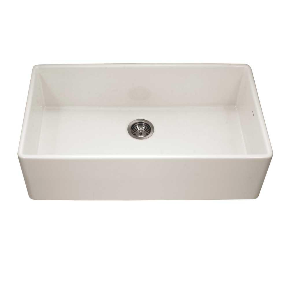 HOUZER Platus Apron Front Fireclay 36 in. Single Bowl Kitchen Sink in  Biscuit with Dual-Mounting Options