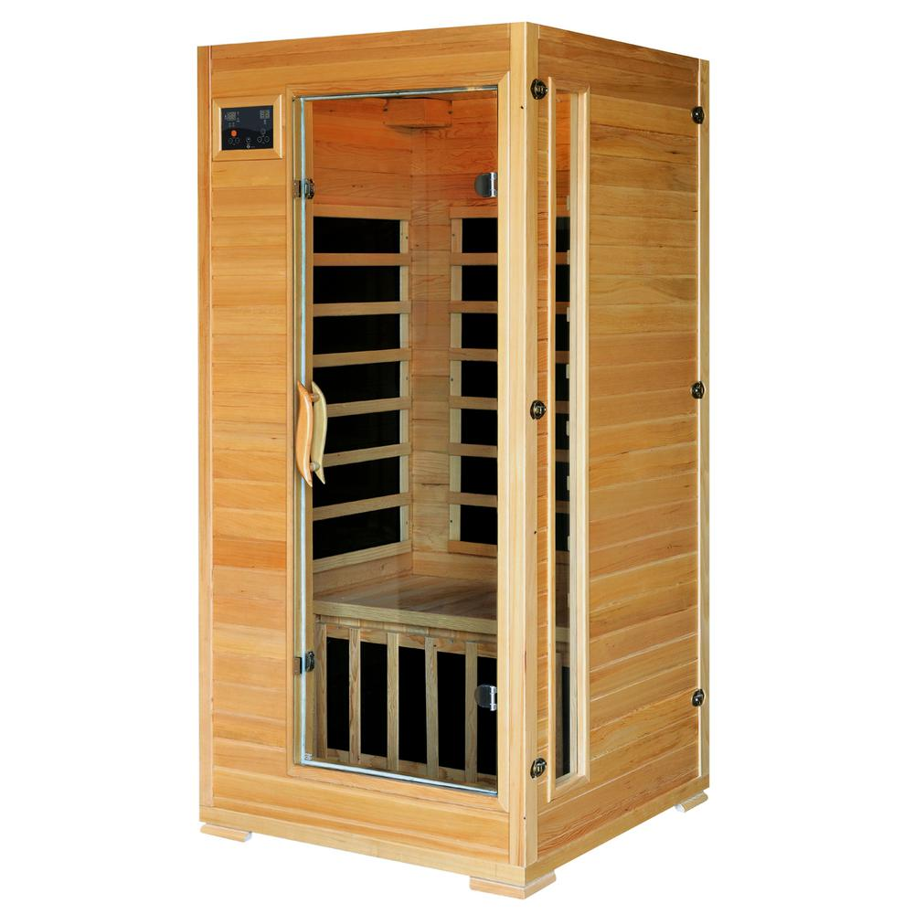 Radiant sauna 1 to 2 person hemlock infrared sauna with 4 for Sauna home