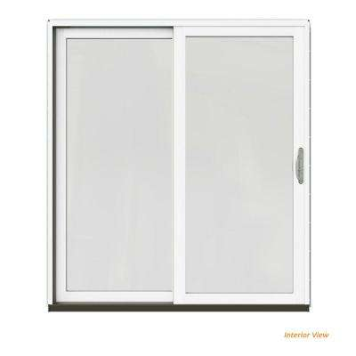 72 in. x 80 in. W-2500 Contemporary Green Clad Wood Left-Hand Full Lite Sliding Patio Door w/White Paint Interior