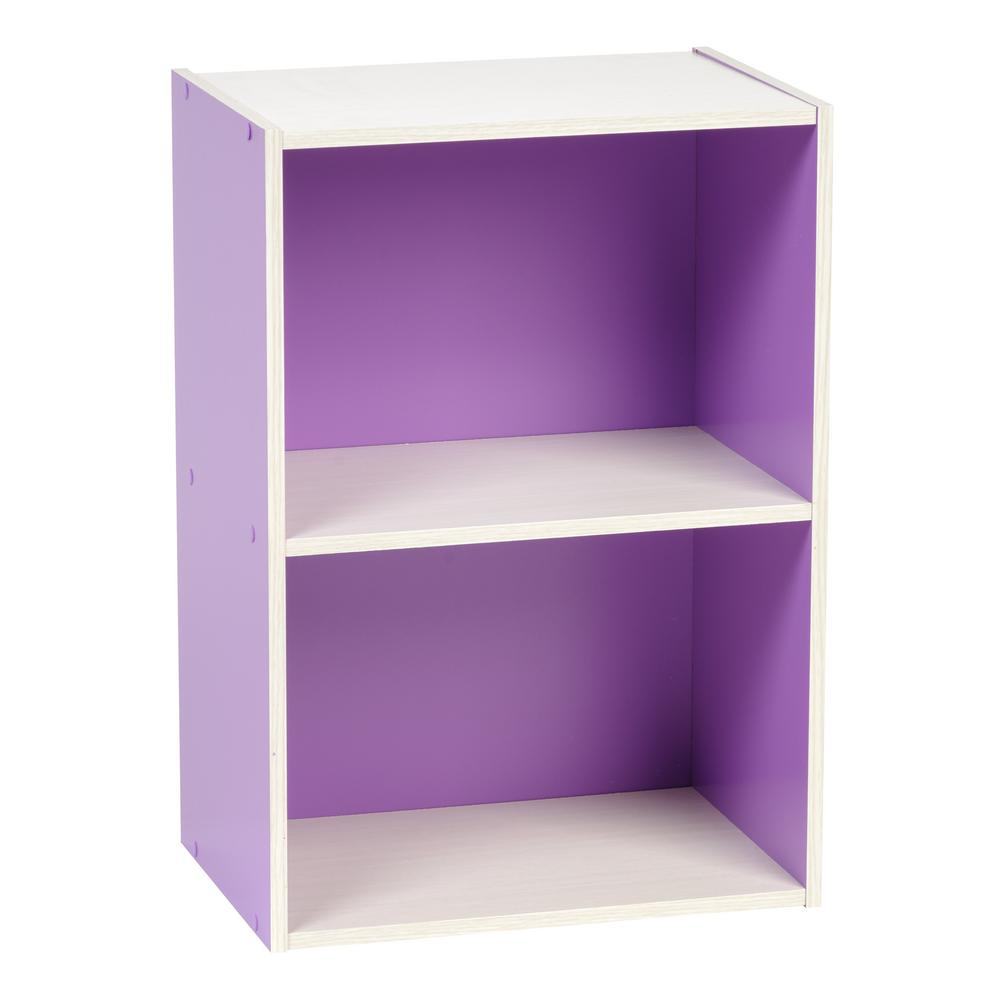 Purple 2-Tier Wood Storage Shelf