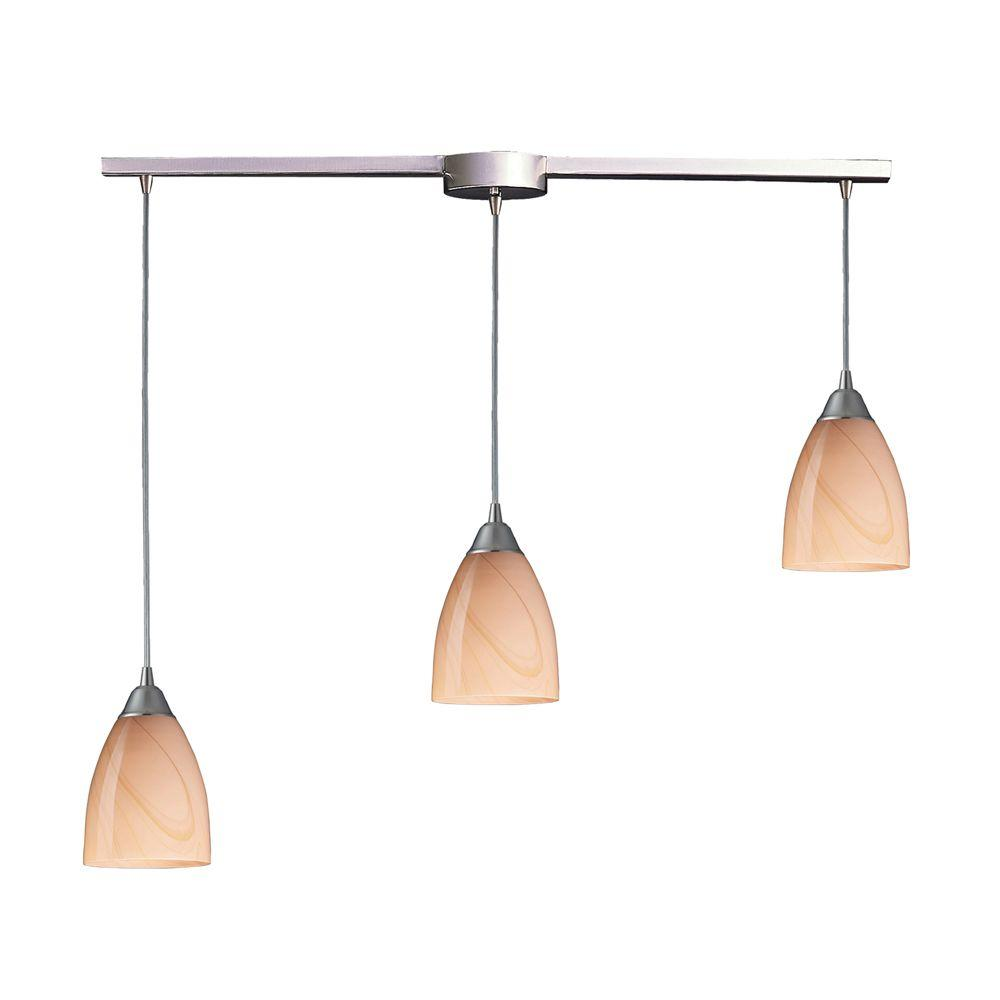 Titan Lighting Pierra 3-Light Satin Nickel Pendant with Sandy Glass