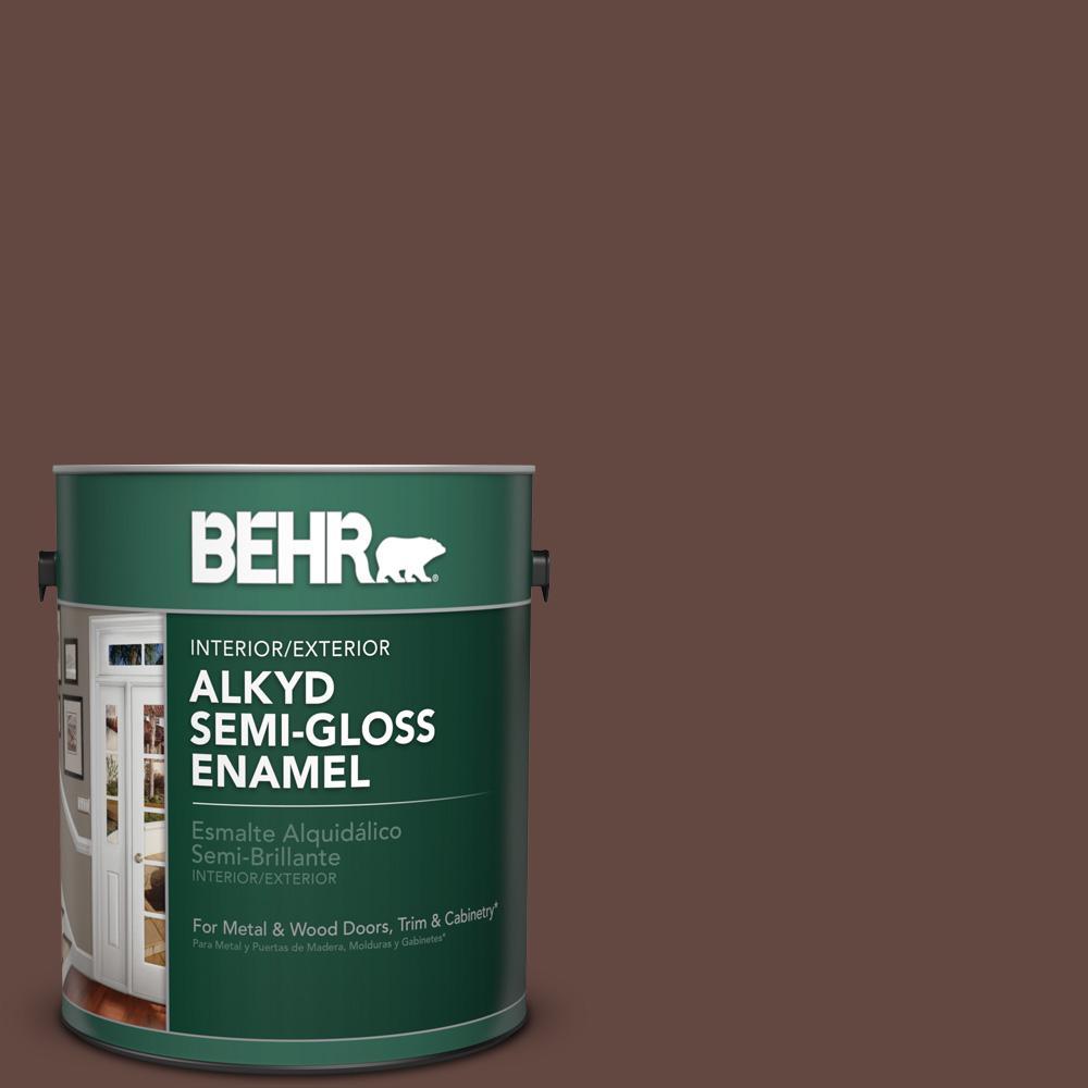 1 gal. #PPU3-20 Cinnabark Semi-Gloss Enamel Alkyd Interior/Exterior Paint