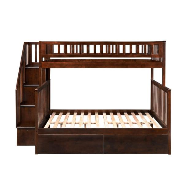 Atlantic Furniture Woodland Walnut Twin Over Full Staircase Bunk Bed with 2-Urban Bed Drawers