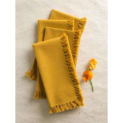 Gold Essential Fringed Napkins (Set of 4)