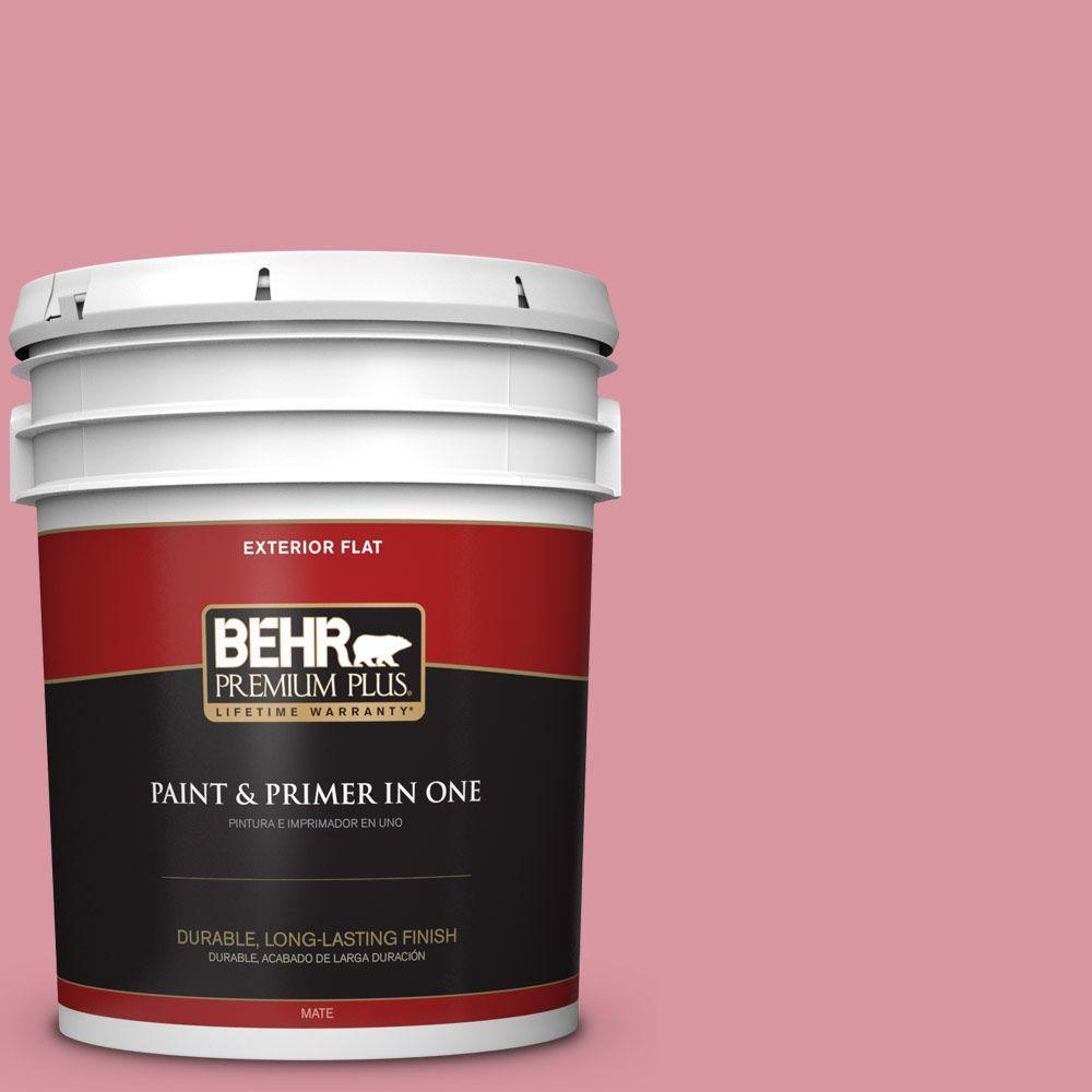 BEHR Premium Plus 5-gal. #M150-4 Glow Pink Flat Exterior Paint