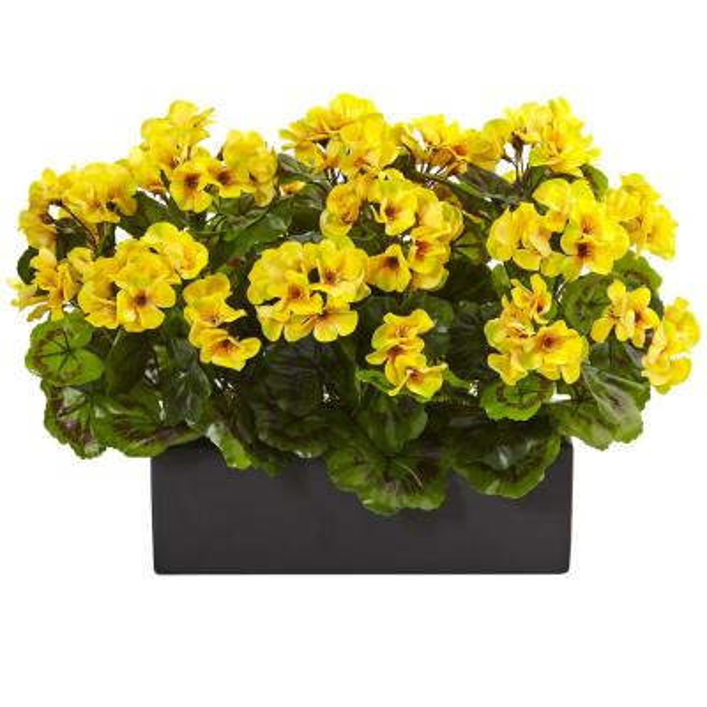 Indoor/Outdoor UV Resistant Yellow Geranium Silk Plant in Rectangular Planter