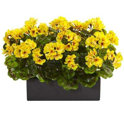 Indoor/Outdoor UV Resistant Yellow Geranium Silk Plant in Rectangular Planter